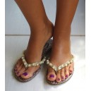 Sandal Jaguar with pearls and strasses