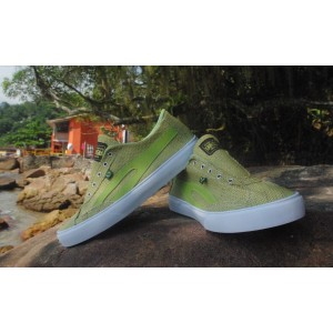 Social shoes made out of light green tinted Burlap