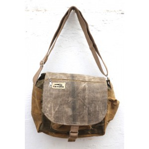 Small shoulder bag in truck's canvas with flap